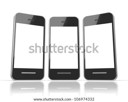 Black smart phone with touch screen blank isolated on white background - stock photo