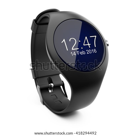 Black smart watch isolated  on white background 3d image - stock photo