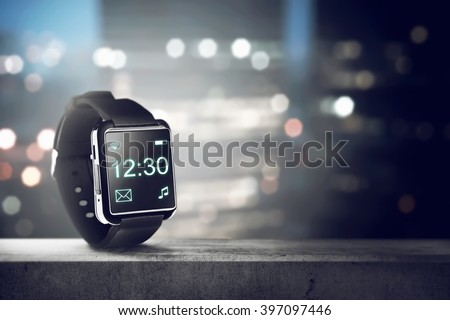 Black smart watch. You can put your design on the screen - stock photo