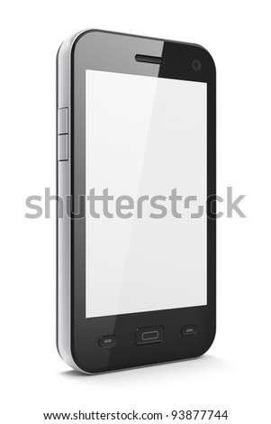 Black smartphone, 3d render. Smart phone with blank screen isolated on white. - stock photo