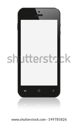 Black Smartphone with blank screen on white background - stock photo
