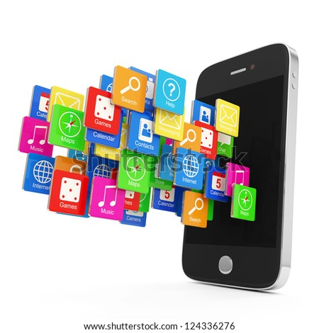 Black Smartphone with Cloud of Application Icons isolated on white background - stock photo