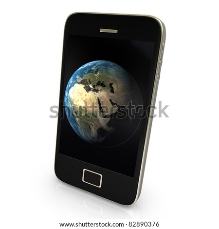 Black smartphone with earth, isolated on white. - stock photo