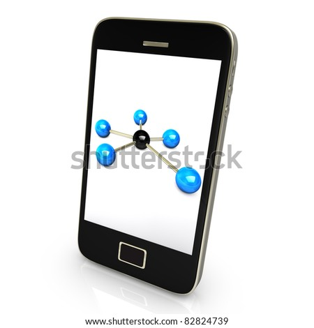 Black smartphone with networks isolate on white background - stock photo