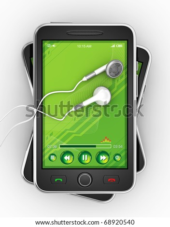 Black smartphones and earphones. - stock photo