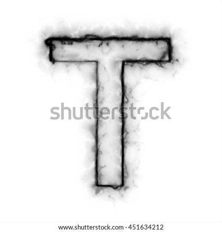 Black Smoke font on white background.  illustration, letter T