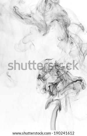 black smoke on white background - stock photo