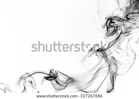 Black smoke on white background, smoke background, black ink background, beautiful black smoke - stock photo