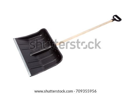 Black snow shovel, isolated