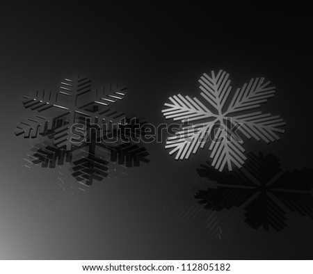 Black snow with reflection and shadow on black background - stock photo