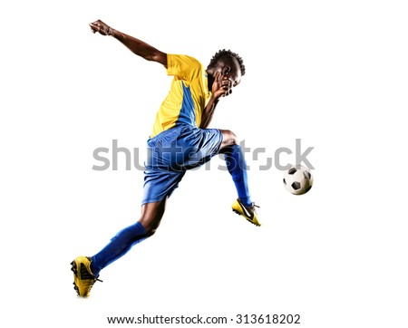 Black soccer player in action isolated white background