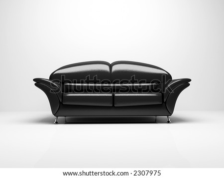 Black sofa on white background  insulated 3d - stock photo