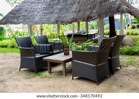 Black sofa set - stock photo