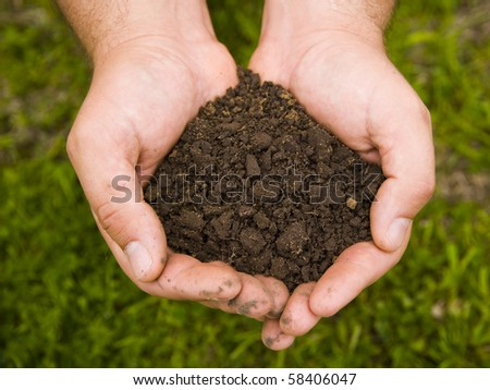 black soil in the hands of man