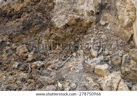 black soil with clay texture - stock photo