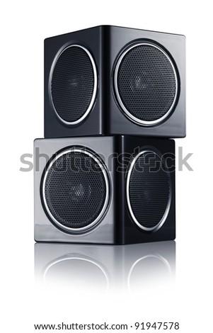 Black sound speakers - stock photo