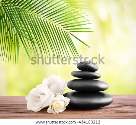 Black spa stones on light background - stock photo