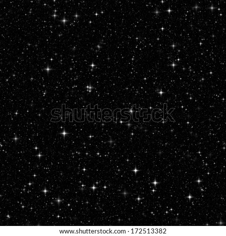Black space with many stars. Seamless pattern, texture, background - stock photo