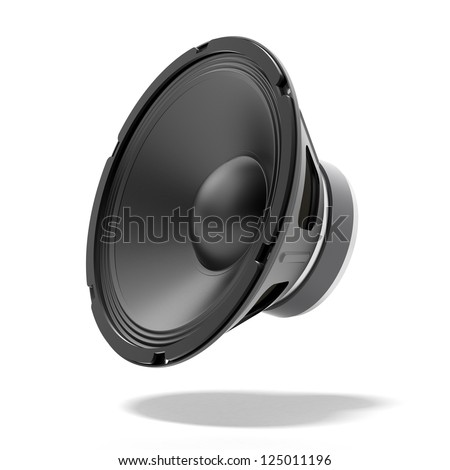 Black speaker isolated on a white background - stock photo