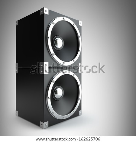 black speakers. High resolution 3d render