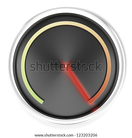 Black Speedometer isolated on a white background - stock photo