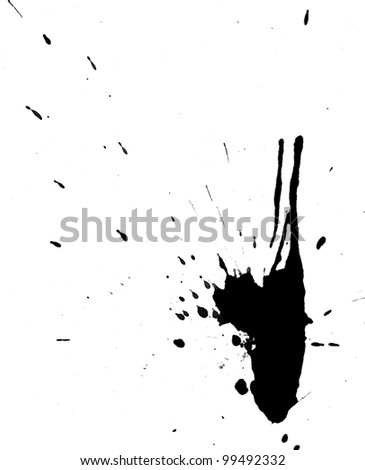 Black splashes on a white background. - stock photo