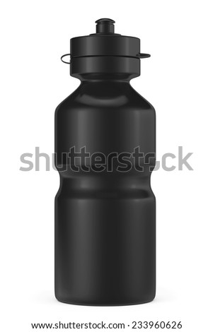 Black Sport Plastic Water Bottle on a white background - stock photo