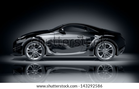 Black sports car. Non-branded car design. - stock photo