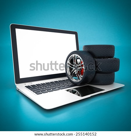 Black sports wheel on a blue background - stock photo