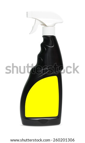Black spray bottle for cleaning isolated - stock photo