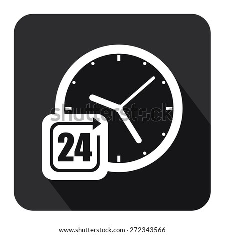 Black Square 24 Hours Service, Open 24 Hours Long Shadow Style Icon, Label, Sticker, Sign or Banner Isolated on White Background - stock photo