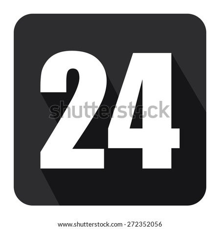 Black Square 24, 24HR, 24HRS, 24 Hours Service, 24 Hours Open Long Shadow Style Icon, Label, Sticker, Sign or Banner Isolated on White Background - stock photo