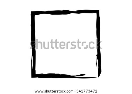 black square illustration in rough paint strokes