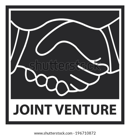 Black square joint venture icon sticker or label isolated on white background
