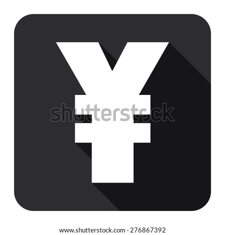 Black Square Yuan, Yen Currency Flat Long Shadow Style Icon, Label, Sticker, Sign or Banner Isolated on White Background - stock photo