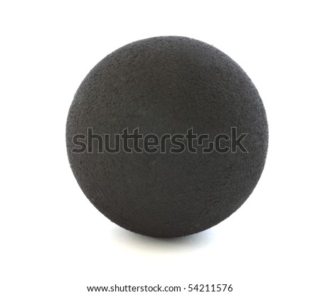 Black squash ball on white background - stock photo
