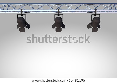 black stage lights - stock photo