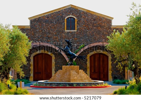 Black Stallion winery in Napa Valley California at sunset - stock photo