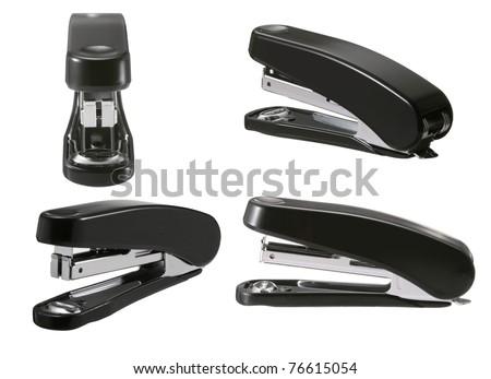 Black stapler. - stock photo