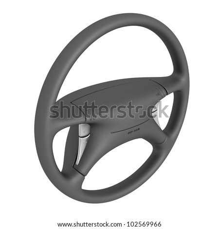 Black steering wheel with airbag isolated on white background - stock photo