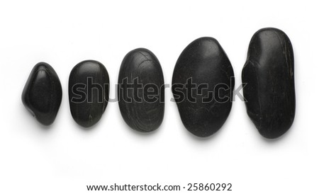 black stepping zen stones isolated on white background - stock photo