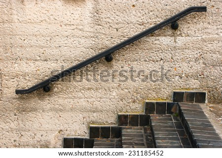 Black steps and black rails
