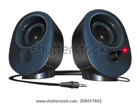black stereo speakers with plug isolated on white background,