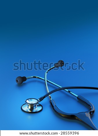 Black stethoscope on deep blue background with highlight. Copy space. - stock photo