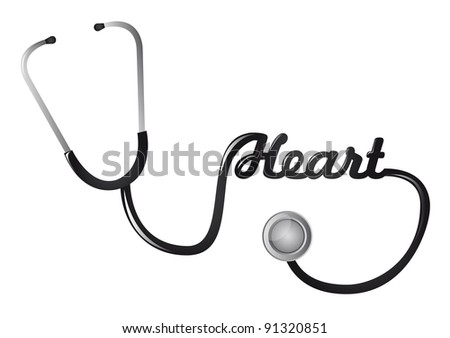 black stethoscope with heart text illustration - stock photo