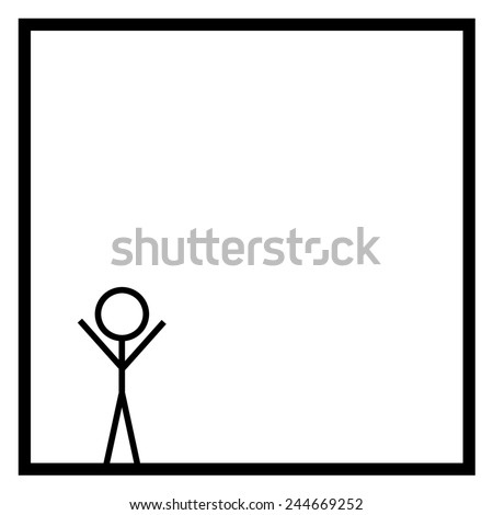 Black stickman on white background in a black square box - stock photo