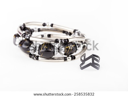 black stone bracelet - stock photo