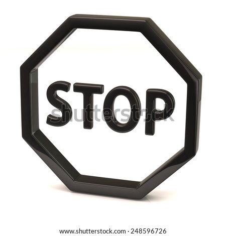 Black stop sign