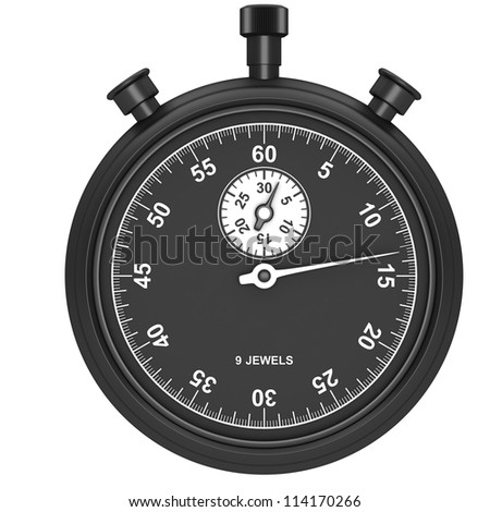 Black stopwatch isolated on a white background - stock photo