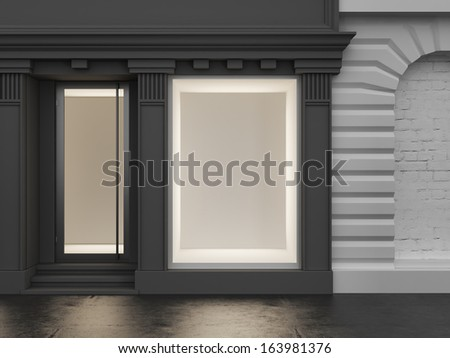 Black store with empty showcase - stock photo